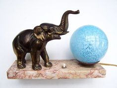 Antique French Table night lamp art deco Elephant marble stand with a blue turquoise globe light lamp Pink Marble, Black Marble, Art Deco Table Lamps, Sculptures, Lion Sculpture, French Table, Antique Decor, Night Lamps, Globe Lights