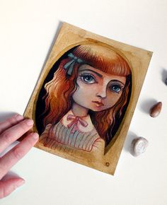 "Lewiss Carroll - ""Alice in wonderland"" - Alice oil pastels portrait - Mixed Media 5.9x7.9inches OOAK"