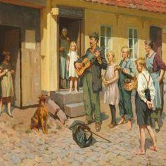 A street musician in front of his audience - Erik Ludvig Henningsen Street Musician, Art Auction, Drawing S, Impressionist, New Art, Denmark, Illustrators, Scandinavian, Creative