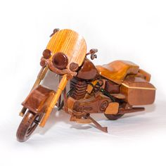 Hand Crafted Harley Davidson (Cop) Wooden : Wood Motorcycle, Bike Desk Model. This piece of model wood art required a lot of workmanship since it was hand-crafted from many different pieces of wood to make a beautiful model motorcycle. http://www.ShoppingZonePlus.com