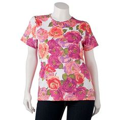 Croft and Barrow Essential Printed Tee - Navy Background with Blue & Pink Flowers - Kohl's - Original Price 16 - Sale Price 9