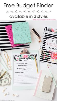 Free budget binder printables in 3 different styles with coordinating home organizational printables. Also inlcudes 7 tips for creating a successful budget! Free Planner, Printable Planner, Free Printables, Printable Budget, Planner Ideas, Happy Planner, Monthly Planner, Home Binder, Budget Binder