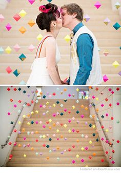 DIY Geo Shapes Curtain Photography Backdrop Idea featured on I Heart Faces Photography Blog