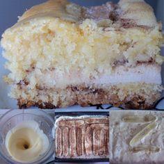 Para a Farofinha: 4 xicaras de farinha de trigo com fermento 2 xícaras de açúcar 2 colheres (sopa) de manteiga ou margarina (de um potinho de 250g, tire 2 colheres) Para a cobertura: 3 ovos 1 copo de leite e o restante da margarina Recheio: 4...