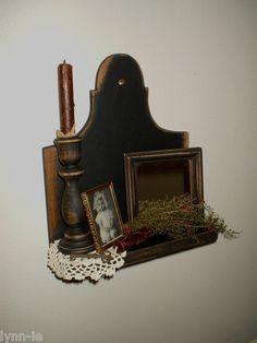 Primitive Homestead Wood Shelf*Mirror*Candle*Circa Photo~Gathering~Sweet Annie