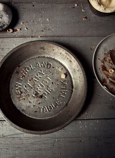 New England pie plate on wooden table