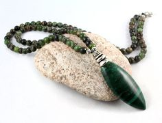 Wintertide Mala Beads… A lovely strand of natural green Rainforest Jasper beads combined with a rich green African Jade pendant at the bottom. Green Gemstone Mala