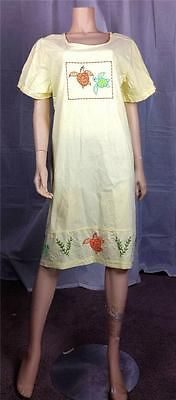 $6 Vintage Retro 80's pale yellow embroidered sequin turtle house dress