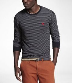 STRIPED SMALL LION CREW NECK WAFFLE TEE at Express    size: Large, small logo, no v-necks