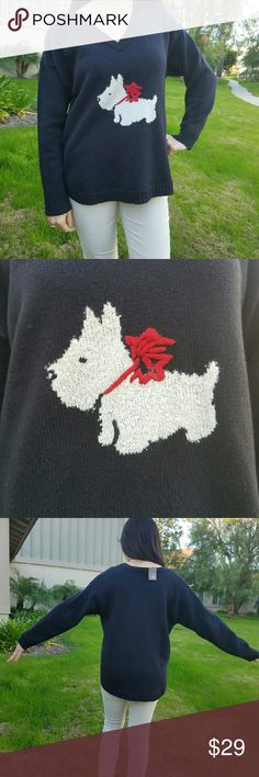 J.Jill dog v-neck sweater Brand: J.Jill Size: Medium Petite (fits like a normal medium) Condition: New with tags  Color: Navy Blue  Same day/ next day shipping:) J. Jill Sweaters V-Necks