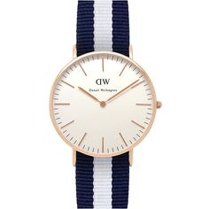 DANIEL WELLINGTON 0503DW Classic Glasgow ladies watch (205 SGD) ❤ liked on Polyvore featuring jewelry, watches, stainless steel wrist watch, leather-strap watches, white dial watches, stainless steel jewelry and stainless steel watches