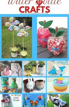 Fun and easy crafts made from plastic water bottles. Great for kids and Summertime crafts!<br> Water Bottle Crafts, Plastic Bottle Crafts, Plastic Bottles, Water Bottles, Upcycled Crafts, Recycled Art, Crafts To Make, Crafts For Kids, Arts And Crafts