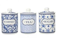 blue & white china kitchen canisters