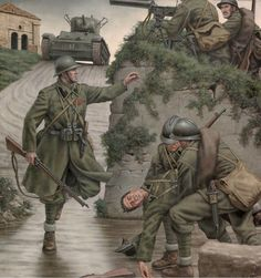 Italian CTV, Battle of Guadalajara Military Art, Military History, D Day Normandy, Ww2 Posters, Military Drawings, Italian Army, Ww2 Pictures, Ww2 History, World War One