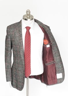 Silk  red looks perfect, in this KITON Cipa 1960 Gray Plaid Alpaca Wool 2Btn Coat Jacket.  |  Shop Kiton: http://www.frieschskys.com/shop-kiton  |  #frieschskys #mensfashion #fashion #mensstyle #style #moda #menswear #dapper #stylish #MadeInItaly #Italy #couture #highfashion #designer #shopping