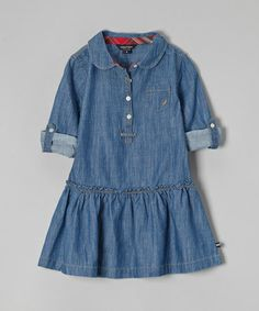 Another great find on #zulily! Blue Denim Chambray Dress - Girls #zulilyfinds