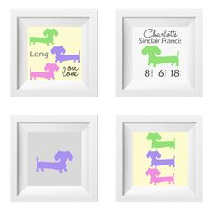 Doxify the nursery, a child's room or your own room with a set of four prints featuring The Smoothe Store's dachshund silhouettes. Want a customized version of this artwork? Email me at sarah@TheSmoot