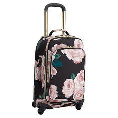 The Emily & Meritt Floral Carry-On Spinner | PBteen 8.5 lbs, 14x8.5x20 interior, 13.5x10x21 exterior.