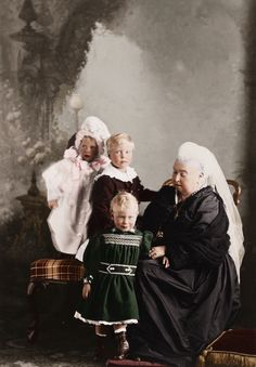 Queen Victoria and her great-grandchildren. Mary, Albert, and Edward of York.