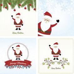 Grandes cartões com o Papai Noel para comemorar o Natal Vetor grátis