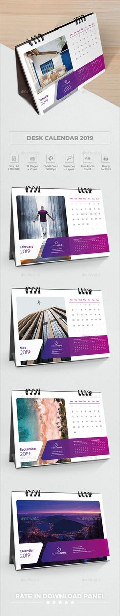 Buy Desk Calendar 2019 by bourjart on GraphicRiver. Creative Desk Calendar This is 12 Months + Cover Desk Calendar Template, Very easy to use and customize, just a. Office Calendar, Calendar 2018, Desk Calendars, Creative Calendar, Calendar Design, Calendar Templates, Calendar Pictures, Buy Desk, Thank You For Purchasing