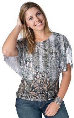 Panhandle Slim® Women's Tan & Grey Embellished Snake Sublimation Short Dolman Sleeve Fashion Top