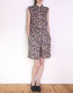 90's collared floral playsuit summer romper by WoodhouseStudios