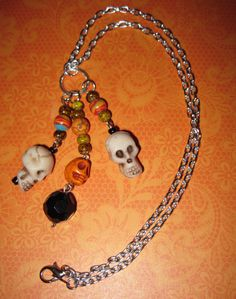 Sugar Skull Necklace Day of The Dead Dia De Los Muertos Mexican Jewelry Beads Pirate Punk Goth Rockabilly OOAK FREE SHIPPING. $20.00, via Etsy.