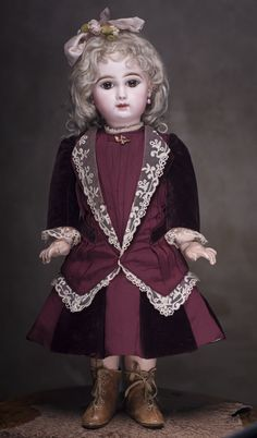 """22"""" (56 cm) French Bisque Bebe doll with closed mouth by Jumeau from respectfulbear on Ruby Lane"""