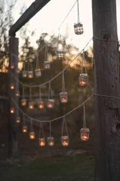 For a garden party wedding or  backyard wedding lighting -  Rustic twine hangers for your mason jar votive candles by SpindleShuttleNeedle via etsy. #weddinglighting #backyardwedding