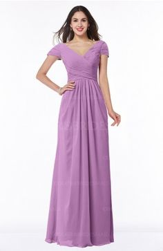 Orchid Glamorous A-line Short Sleeve Floor Length Ruching Plus Size Bridesmaid  Dresses Dusty Rose 27b53adf9ace