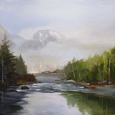 """""""Revealing""""  8"""" X 8 Acrylic on canvas For Sale : $95 Skykomish River. Index, wa"""