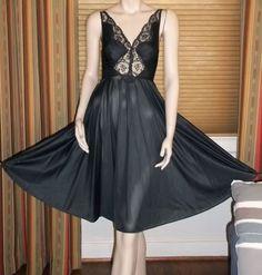 Olga Bodysilk 9187 Nylon Spandex Short Nightgown 146 Inch Sweep Hem Small Black…