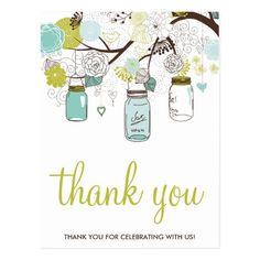 Spring Wedding Thank You Cards FLOWERS & MASON JARS WEDDING THANK YOU POSTCARD