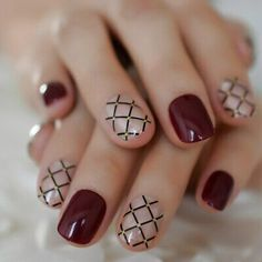 Drak Red Shiny Surface Artificial Nails For Makeup Grid Pre-designed Short Full Fake Nails Square With Glue Stickers 24 CT. This is popular style fake nails. 1 kit of nails. Wine red and grid are chic. Square Nail Designs, Short Nail Designs, Fall Nail Designs, Popular Nail Designs, Plaid Nail Designs, Best Nail Art Designs, Cute Toenail Designs, Accent Nail Designs, Elegant Nail Designs