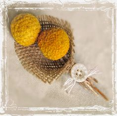 Burlap, Billy Ball Boutonniere - Rustic Wedding - Yellow Craspedia - Groom And Groomsmen - Father Of The Bride, Father Of The Groom. $11.00, via Etsy.
