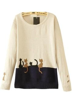 Beige Cat Embroidery Pullover