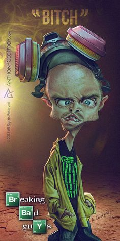 Jesse Pinkman - Breaking Bad Caricature Art by Illustrator and caricaturist Anthony Geoffroy Breaking Bad Arte, Affiche Breaking Bad, Serie Breaking Bad, Jesse Pinkman, Walter White, Beaking Bad, Arte Dope, Comic Style, Aaron Paul