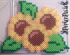 Sunflowers perler beads by PerlerPixie on deviantART Melty Bead Patterns, Pearler Bead Patterns, Perler Patterns, Beading Patterns, Diy Perler Beads, Perler Bead Art, Pearler Beads, Beaded Banners, Fusion Beads