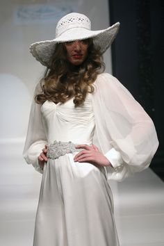 White satin charmeuse with ruched bust, full chiffon bishops sleeves, and silver beaded belt