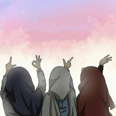 Best Friend Forever Will always be together Friend Cartoon, Girl Cartoon, Cute Cartoon, Cartoon Art, Best Friend Drawings, Bff Drawings, Cover Wattpad, Muslim Pictures, Hijab Drawing