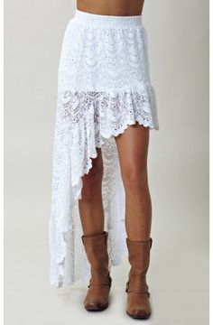 Ɲιgнтcαρ Ɯнιтє Sραηιѕн SαƖσση Sкιrт ҳ̸Ҳ̸ҳ ~ Features allover spanish lace detail, elastic waistband, and a high low hemline with ruffled lace detailing at hem…ҳ̸Ҳ̸ҳ   http://www.lyst.com/clothing/nightcap-spanish-saloon-skirt-white-1/
