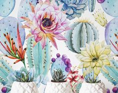 Watercolor Cactus Wallpaper, Removable Wallpaper, Self-adhesive Wallpaper, Floral Wall Décor, Flower Wallcovering - JW019 Accent wall?
