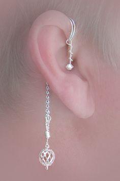 Dangling ear wrap pairover the ear wrap no piercing needed Cuff Earrings, Beaded Earrings, Beaded Jewelry, Handmade Jewelry, Ear Jewelry, Jewelry Accessories, Jewelry Design, Jewelry Making, Jewellery