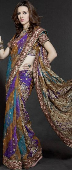 Multicolour Net #Saree with Blouse @ $51.03
