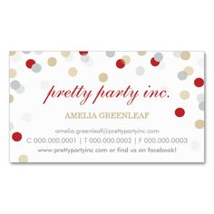 BUSINESS CARD :: stylish confetti red silver gold. I love this design! It is available for customization or ready to buy as is. All you need is to add your business info to this template then place the order. It will ship within 24 hours. Just click the image to make your own!
