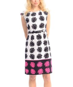 Look what I found on #zulily! Fuchsia & Black Gerber Daisy Cap-Sleeve Dress by Maglia #zulilyfinds