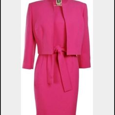Anne Klein Suit 2P Anne Klein 2P pink suit! Pink dress with no sleeves with a half jacket to go over! Worn once for a special occasion! In perfect condition! If you have any questions comment below! Anne Klein Dresses Midi