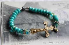 Vintage assemblage bracelet side ways cross bracelet aqua blue beads assemblage jewelry - Simple Vintage by French Feather Designs