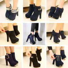 Envío gratis 2014 otoño moda tacones altos plataforma botas mujeres botas Sexy botines de tacón grueso zapatos con lentejuelas bombas(China (Mainland))